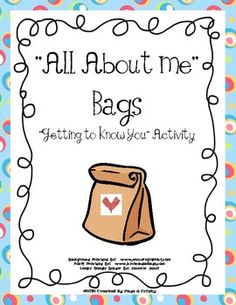 Free All About Me Bags for Back to School. Cute!