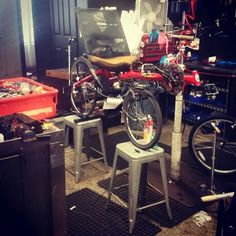 This is how you have to work on some bikes when the boss is too cheap to get the right tool for the job.