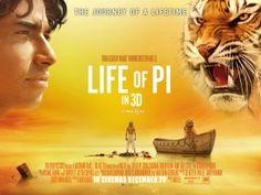 Life of Pi - Una de las mejores películas del 2012 (estrenada en Colombia en el 2013) nominada a los premios Globos de Oro y a los Oscar del 2013. Basada en la Fe, en lo hermoso de la naturaleza, y en los enlaces que tiene el ser humano, la naturaleza y los animales, como seres excepcionales.