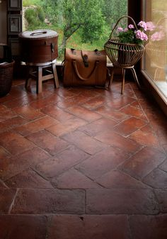 Brick Flooring, Kitchen Flooring, Terracota Floor, Herringbone Tile Pattern, Moraira, Rooftop Restaurant, Hacienda Style, Spanish House, House Entrance