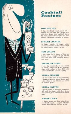 "livingnowisliving: "" Steve (Mr Vintage) Frederick saved to Cocktails Anyone? Elmer's Town-Line Liquors catalog from "" Cocktail Party Food, Cocktail Book, Cocktail Recipes, Cocktail Club, Vintage Cocktails, Classic Cocktails, Craft Cocktails, Vintage Tiki, Vintage Ads"