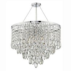 Pescara 5 light crystal pendant finished in polished chrome. This pendant has a round shaped polished chrome frame which has four tiers of stunning Chinese. Lighting Bugs, Dar Lighting, Lighting Ideas, Crystal Ceiling Light, Semi Flush Ceiling Lights, Crystal Decor, Crystal Pendant, Light Pendant, Round Pendant
