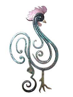 Art In Wrought Iron Gjeli Francez by Petrit Metohu Rooster Art, Rooster Decor, Chicken Painting, Chicken Art, Chickens And Roosters, Pet Chickens, Metal Yard Art, Metal Art, Arte Do Galo
