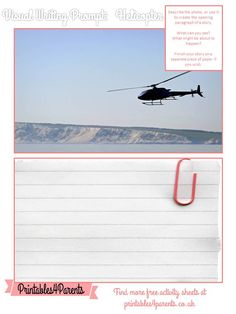 Here's a free printable Helicopter writing prompt sheet for your children, featuring original Printables4Parents photography.