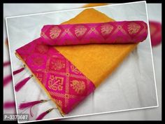 Beautiful Chanderi Cotton Solid Saree With Blouse Piece by Veenapani - Online shopping for Sarees on MyShopPrime - Saree Design Patterns, Saree Quotes, Online Shopping Sarees, Indian Sarees Online, Amazing Shopping, Saree Styles, Beautiful Saree, Saree Collection, Types Of Fashion Styles