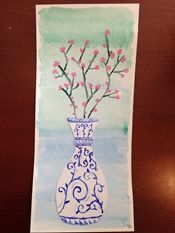 Cherry Blossoms in Porcelain Vase Art Project - Asian Theme Art Lesson