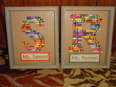 S letter and R letter from crayons for my daughters teacher and my cousin. I found the shadow boxes at hobby lobby on sale for $8.44 a piece then hot glued the crayons onto some card stock I had. I could not find a template I liked on my computer so I found these already made letters online and eyeballed theirs. http://www.pinterest.com/pin/8796161746475108/ and http://www.pinterest.com/pin/8796161746458982/