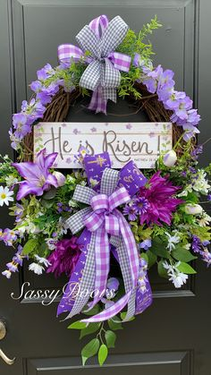 Easter Wreath, Spring Wreath, Religious Wreath, He Is Risen Wreath, SassyDoors Wreath Spring Door Wreaths, Easter Wreaths, Summer Wreath, Mesh Wreaths, Easter Table Decorations, Easter Decor, Easter Centerpiece, Easter Ideas, Easter Egg Crafts