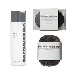 Monochromatic essentials—Dermalogica Special Cleansing Gel, Binchotan Morihata Charcoal Facial Soap, Morihata Facial Puff