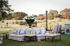 Outdoor lounge, wedding reception.