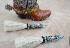 Western Earrings, Unique Earrings, Tassel Earrings, Bling Horse Tack, Equestrian Gifts, Thing 1, Horsehair, Blue Beads, Sterling Silver Earrings