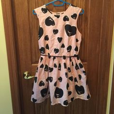 Skater Dress River Island pink with hearts skater dress, opening in the back, belted, buttons on back, size 12. River Island Dresses Mini