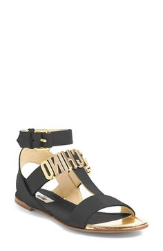 Moschino Logo Ankle Strap Sandal (Women) available at #Nordstrom