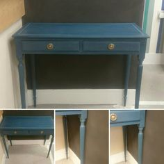Elegant vintage console table with two drawers and reeded legs, finished in Aubusson blue with inlay detail to top in Country Grey Chalkpaint™ all finished with clear wax - Guliding wax on handles.