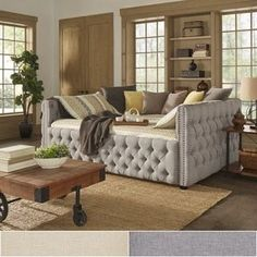 Knightsbridge Full Size Tufted Nailhead Chesterfield Daybed and Trundle by SIGNAL HILLS | Overstock.com Shopping - The Best Deals on Beds