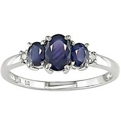 Miadora 10k White Gold Blue Sapphire and Diamond 3-stone Ring - similar to my engagement ring, except in white gold & a little different