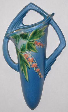 Roseville Pottery Bleeding Heart Blue Wall Pocket 1287-8 from Just Art Pottery