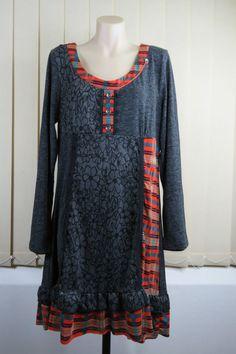 AUTUMN GRUNGE  NWT Size XL 16 Ladies Grey Tunic Dress Casual Patchwork Boho Chic Grunge Design