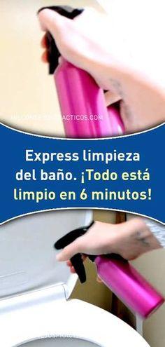 Express limpieza del baño. ¡Todo está limpio en 6 minutos! #express #limpieza #limpiar #baños #inodoro #lavabos #mampara #azulejos