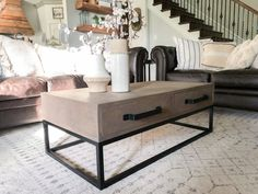 Learn to build this DIY Wood and Metal Coffee Table with Free plans and a video tutorial!