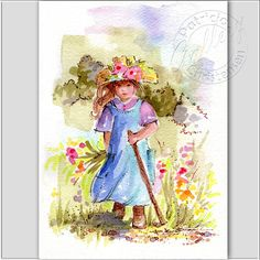 Country Girl Hiking Watercolor Art Painting Spring Summer Wildflowers Plus Matting Home Decor. via Etsy.