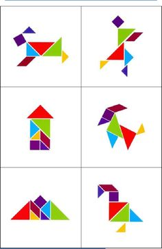 Juego - Percepción Visual - Siluetas Tangram Math Activities For Kids, Fun Math, Cute Drawings For Kids, Tangram Puzzles, Activity Box, Alphabet Images, Grande Section, Montessori Education, Math Projects