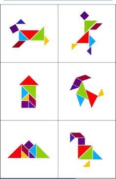 Juego - Percepción Visual - Siluetas Tangram Math Activities For Kids, Fun Math, Math Resources, Cute Drawings For Kids, Tangram Puzzles, Activity Box, Alphabet Images, Grande Section, Montessori Education