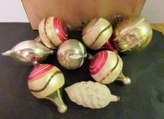 7 Antique German Glass Christmas Ornaments. Antique, Classic Vintage Christmas Ornaments, decorations, decor.  #vintagechristmas #vintagechristmasornaments, #vintagechristmasdecorations, #antiquechristmasornaments,