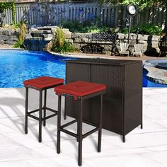 Patio Bar Set 3 Pc Outdoor Garden Furniture Pool Side Rattan Bar Table W/ Stools #PatioBarSet