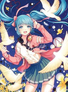 Browse Hatsune Miku VOCALOID Miku collected by Nimee Sipencuri and make your own Anime album. Anime Girls, Kawaii Anime Girl, Manga Girl, Anime Art Girl, Vocaloid, Moe Anime, Chica Anime Manga, Kaai Yuki, Anime Blue Hair