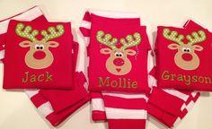 Kid's Monogrammed Christmas Pajamas with Appliqued Boy / Girl ...