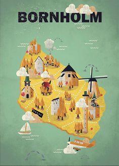 Bornholm poster I made in Adobe Illustrator. This became the winner of Bornholm Island, Denmark official turist poster Kids Calendar, Calendar Design, Diy Photo, Greeting Card Shops, Printable Calendar Template, Map Design, Vintage Travel Posters, Graphic Design Illustration, Illustrations Posters