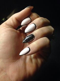 Love this look # stiletto nails# black rimmed