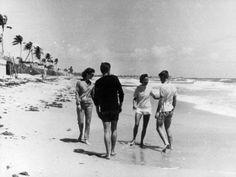 1957. The Kennedy's in Palm Beach. Jackie, Jack, Ethel, Bobby