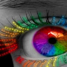 neon colors of the rainbow eyes