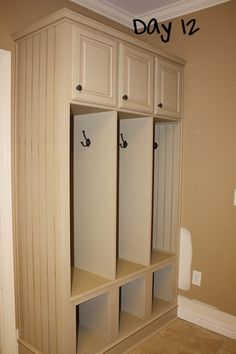 Cubbies & hooks for the front entryway.