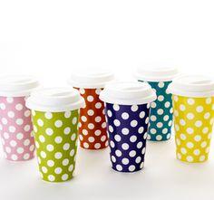 polka dot travel mugs via designsponge