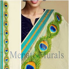 Cute Peacock fea ther - mural style painting on shawl by Aneesh Mepate (Mepate… Dress Painting, Fabric Painting, Fabric Art, Painting & Drawing, Painting Prints, Saree Painting Designs, Fabric Paint Designs, Madhubani Art, Madhubani Painting