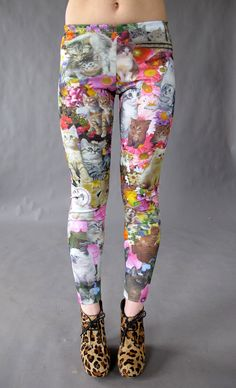 Kitty Garden Party Leggings. Made to order. $78.00, via Etsy. Made by Project Runway's 2013 new designer, Joseph Aaron Segal. LOVE HIM!