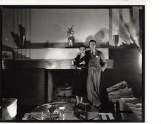 Art Director Cedric Gibbons in his Art Deco home with actress/wife Dolores Del Rio