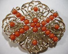 Vintage Gold Tone Brooch with Tangerine Beads, Signed SARAH COV. - Edit Listing - Etsy