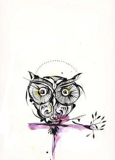 Owl tattoo with a splash of color. I dont want an owl but like the way this is done. Clean lines with a little color