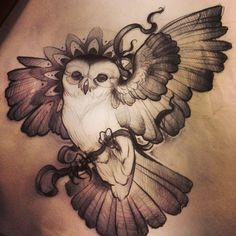 15 Mysterious Owl Tattoo Designs and Meanings Trendy Tattoos, Love Tattoos, Beautiful Tattoos, Body Art Tattoos, Incredible Tattoos, Anchor Tattoos, Bird Tattoos, Owl Tattoo Design, Tattoo Designs