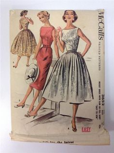 3652 M Vtg 50s Pattern Dress with Slim or Full Skirt Sz 14 B32 Easy To Sew