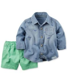 Carter's Baby Boys' 2-Piece Chambray Shirt & Turquoise Shorts Set