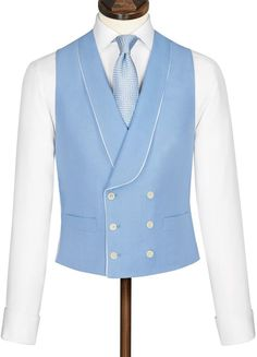 Buy our Morning Suit Waistcoat - Blue exclusively from Charles Tyrwhitt of Jermyn Street, London. Slim Fit Tuxedo, Tuxedo For Men, Gentlemans Club, Sky Blue Suit, Prom Blazers, Morning Suits, Morning Dress, Double Breasted Waistcoat, Suit Stores