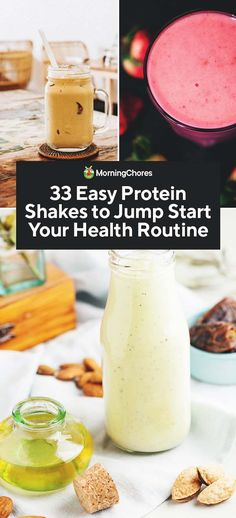 33 Easy Homemade Protein Shake Recipes to Jump Start Your Health Routine - 33 E. - 33 Easy Homemade Protein Shake Recipes to Jump Start Your Health Routine – 33 Easy Homemade Prot - Low Carb Protein Shakes, High Protein Snacks, Homemade Protein Shakes, Protein Shake Recipes, Milkshake Recipes, Protein Shakes For Women, Smoothie Recipes, Protein Smoothies, Fruit Smoothies