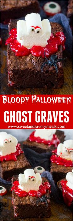 Bloody Halloween Desserts like these Brownie Ghost Graves, are a fun and easy way to take your Halloween treats to a new scary, delicious and fun level! #halloween #brownies #ghost