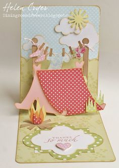 Helen Cryer includes a full picture tutorial for this genius pop-up card! The Dining Room Drawers: Pop 'n Cuts Camping card