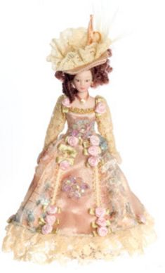 Victorian Lady in Floral Gown | Mary's Dollhouse Miniatures